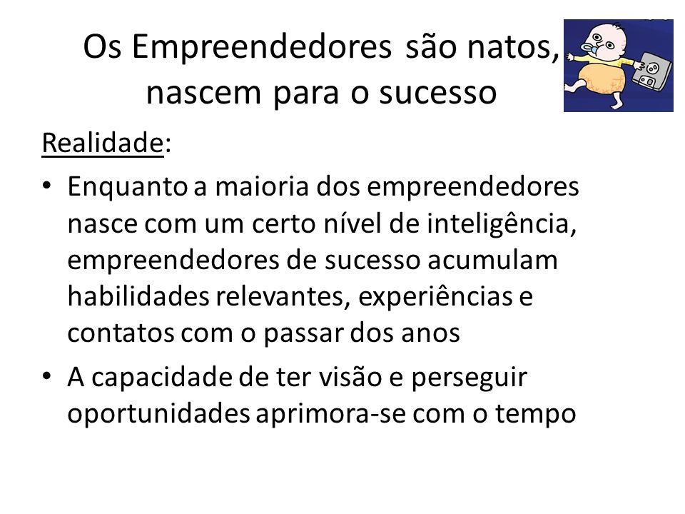 Os Empreendedores são natos, nascem para o sucesso