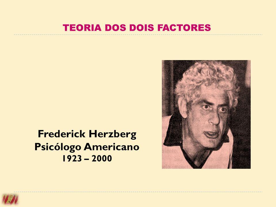 TEORIA DOS DOIS FACTORES Frederick Herzberg Psicólogo Americano