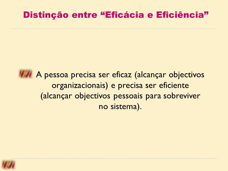 Distinção entre Eficácia e Eficiência