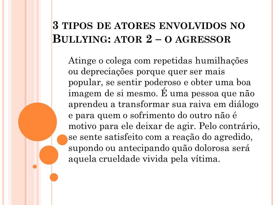 3 tipos de atores envolvidos no Bullying: ator 2 – o agressor