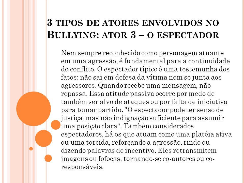 3 tipos de atores envolvidos no Bullying: ator 3 – o espectador