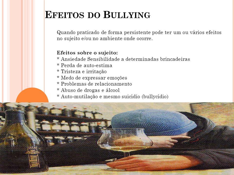 Efeitos do Bullying Quando praticado de forma persistente pode ter um ou vários efeitos no sujeito e/ou no ambiente onde ocorre.