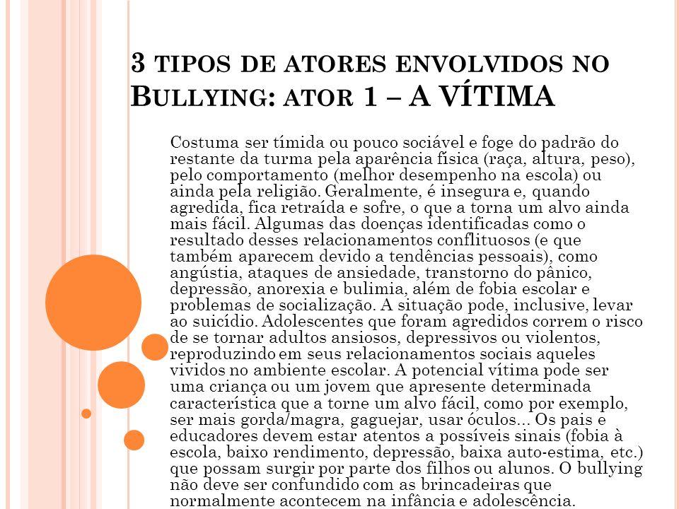 3 tipos de atores envolvidos no Bullying: ator 1 – A VÍTIMA