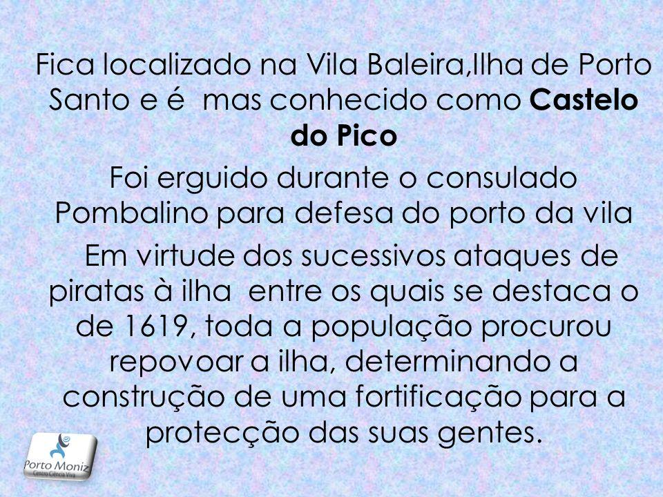Fica localizado na Vila Baleira,Ilha de Porto Santo e é mas conhecido como Castelo do Pico Foi erguido durante o consulado Pombalino para defesa do porto da vila Em virtude dos sucessivos ataques de piratas à ilha entre os quais se destaca o de 1619, toda a população procurou repovoar a ilha, determinando a construção de uma fortificação para a protecção das suas gentes.