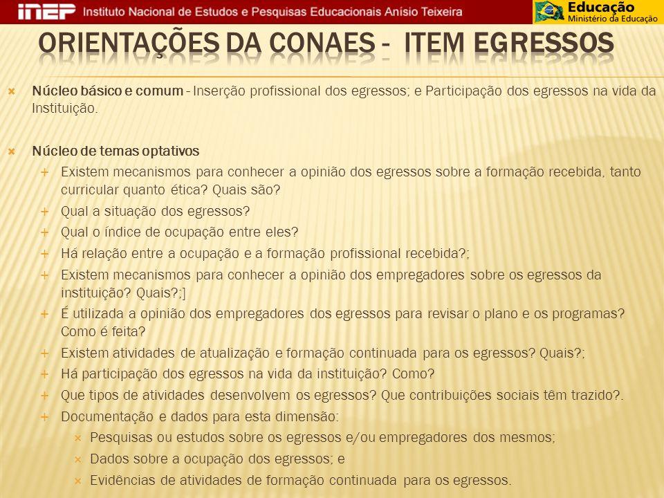 Orientações da CONAES - item EGRESSOS