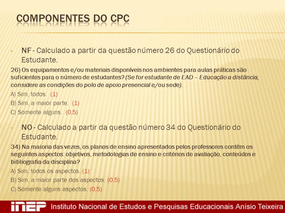Componentes do CPC NF - Calculado a partir da questão número 26 do Questionário do Estudante.