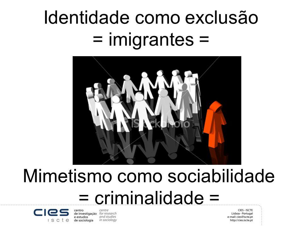 Identidade como exclusão = imigrantes =