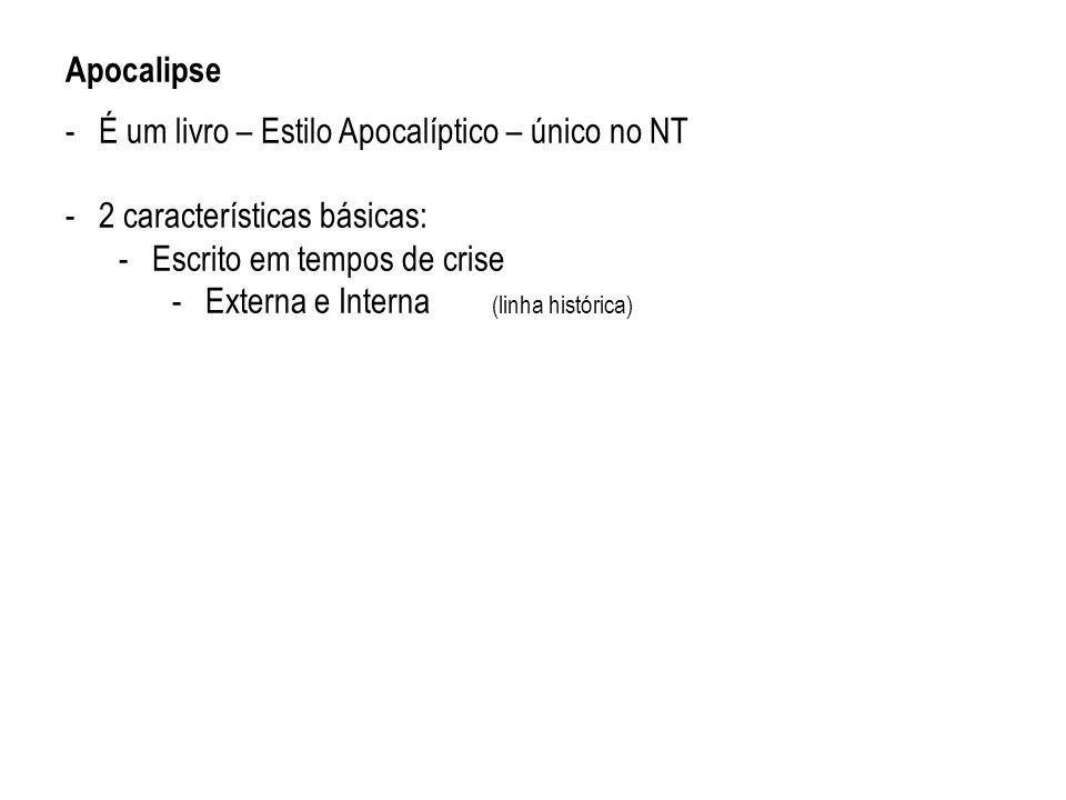 Apocalipse É um livro – Estilo Apocalíptico – único no NT. 2 características básicas: Escrito em tempos de crise.