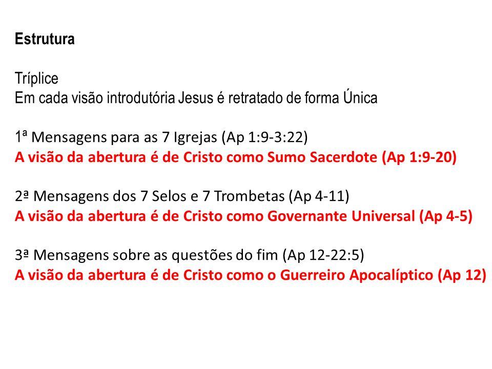 Estrutura Tríplice. Em cada visão introdutória Jesus é retratado de forma Única. 1ª Mensagens para as 7 Igrejas (Ap 1:9-3:22)