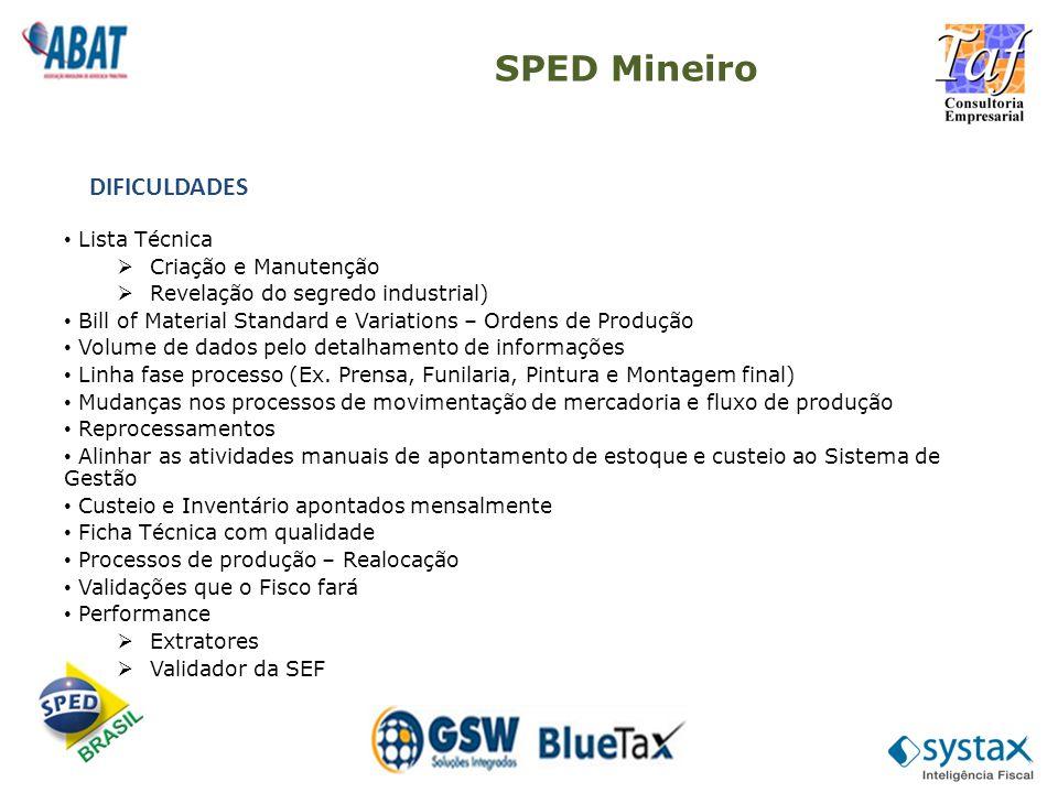 SPED Mineiro DIFICULDADES Lista Técnica Criação e Manutenção