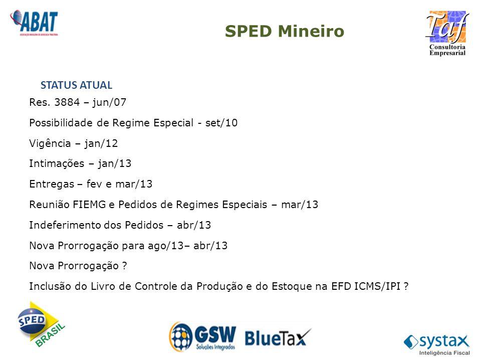 SPED Mineiro STATUS ATUAL