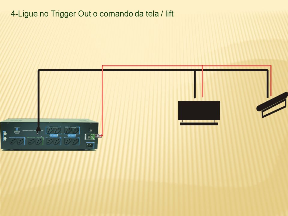 4-Ligue no Trigger Out o comando da tela / lift