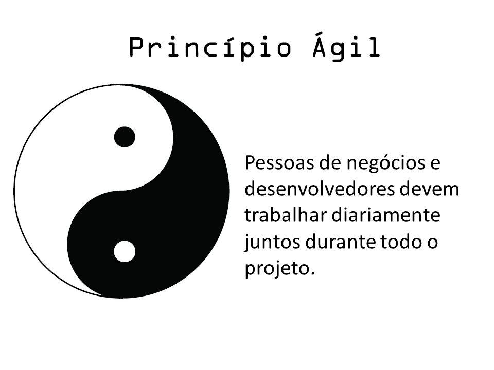 Princípio ÁgilPessoas de negócios e desenvolvedores devem trabalhar diariamente juntos durante todo o projeto.
