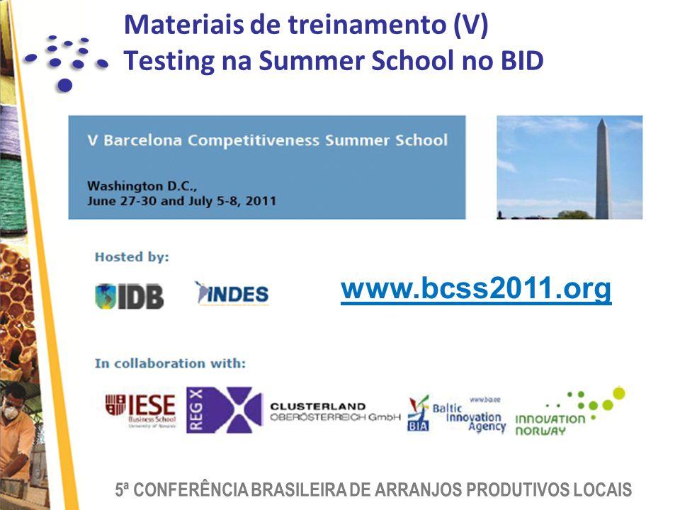 Materiais de treinamento (V) Testing na Summer School no BID