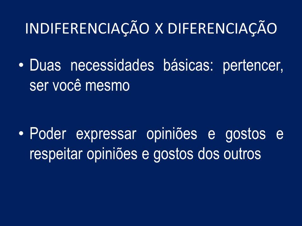 INDIFERENCIAÇÃO X DIFERENCIAÇÃO