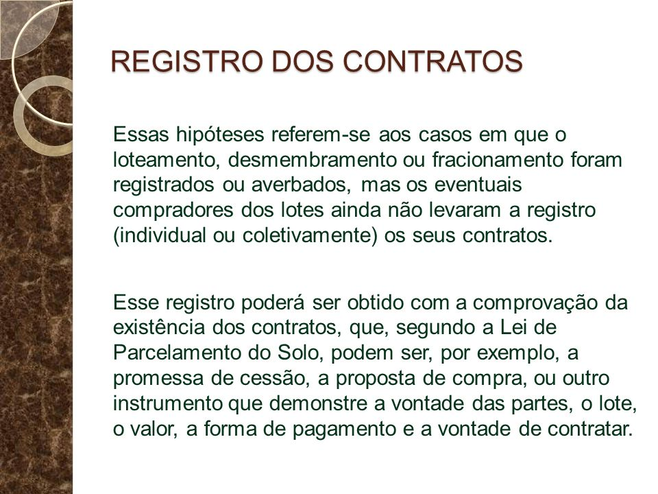 REGISTRO DOS CONTRATOS