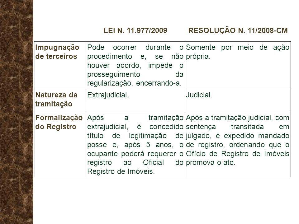 LEI N. 11.977/2009 RESOLUÇÃO N. 11/2008-CM. Impugnação de terceiros.