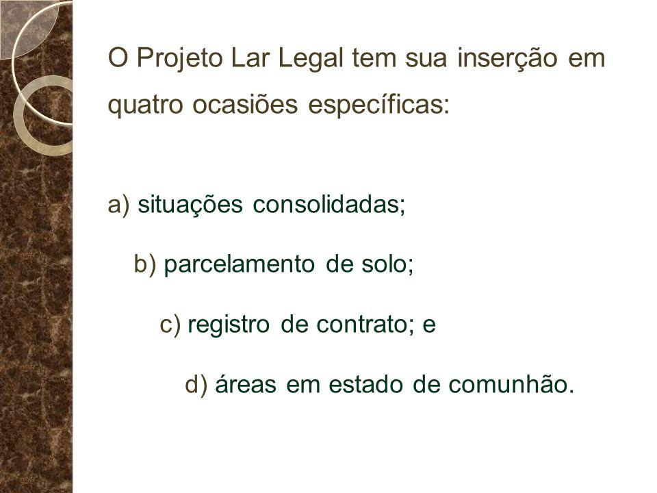O Projeto Lar Legal tem sua inserção em quatro ocasiões específicas: