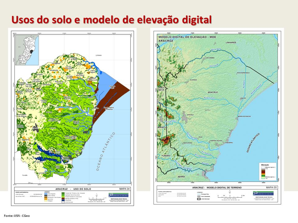Usos do solo e modelo de elevação digital