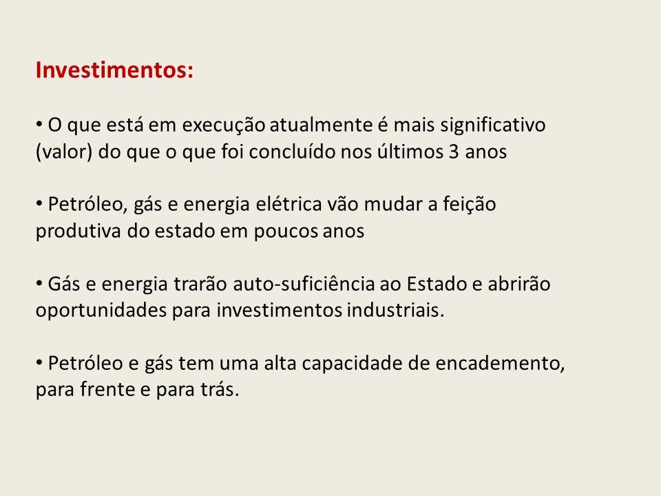 Investimentos: O que está em execução atualmente é mais significativo (valor) do que o que foi concluído nos últimos 3 anos.