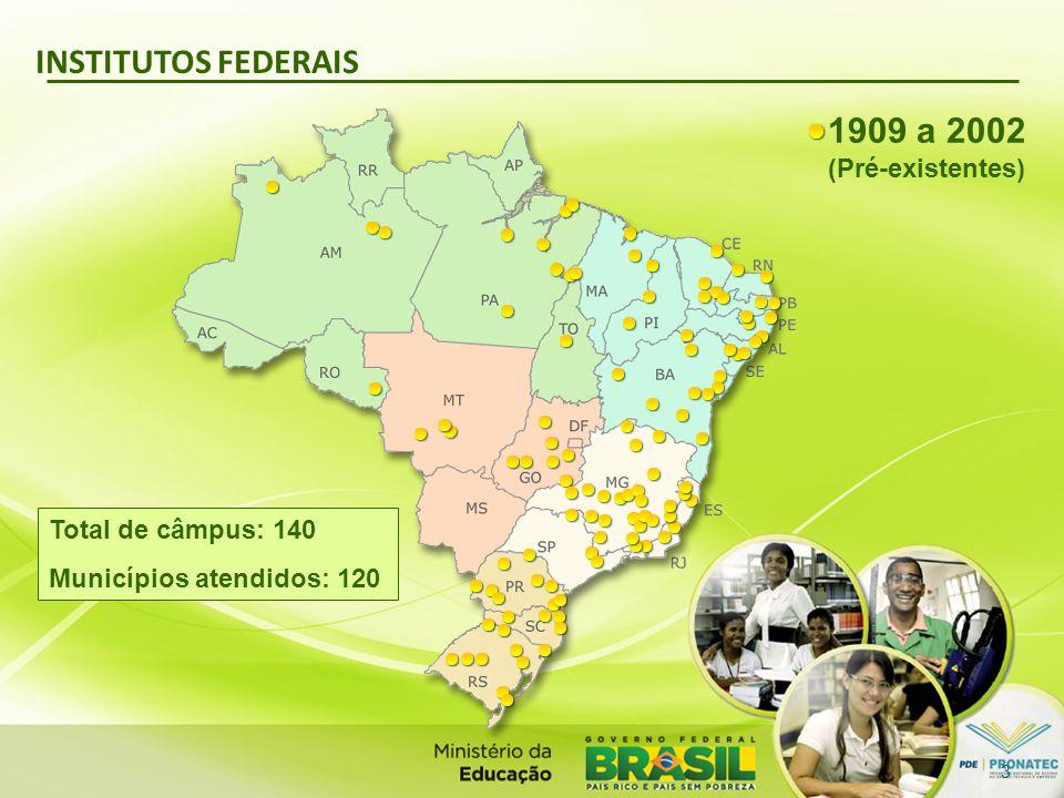 INSTITUTOS FEDERAIS 1909 a 2002 (Pré-existentes) Total de câmpus: 140