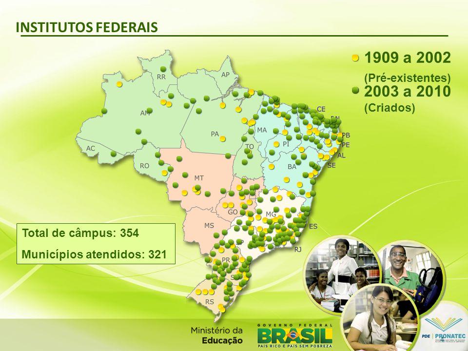 INSTITUTOS FEDERAIS 1909 a 2002 (Pré-existentes) 2003 a 2010 (Criados)