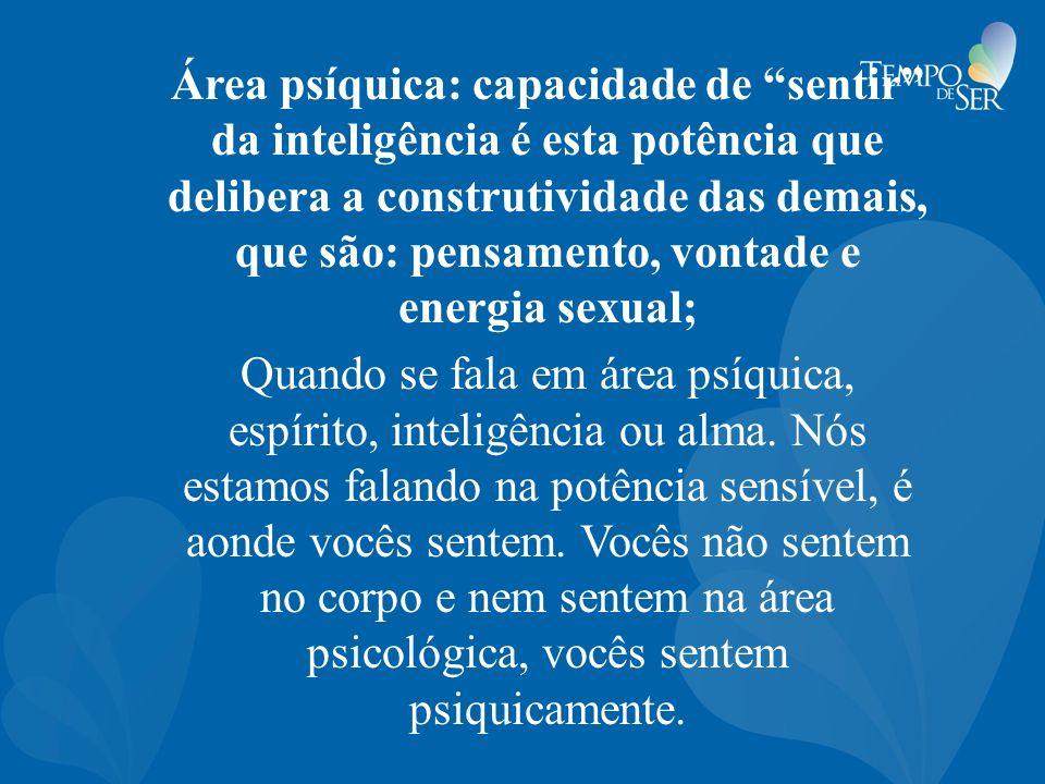 Área psíquica: capacidade de sentir da inteligência é esta potência que delibera a construtividade das demais, que são: pensamento, vontade e energia sexual;