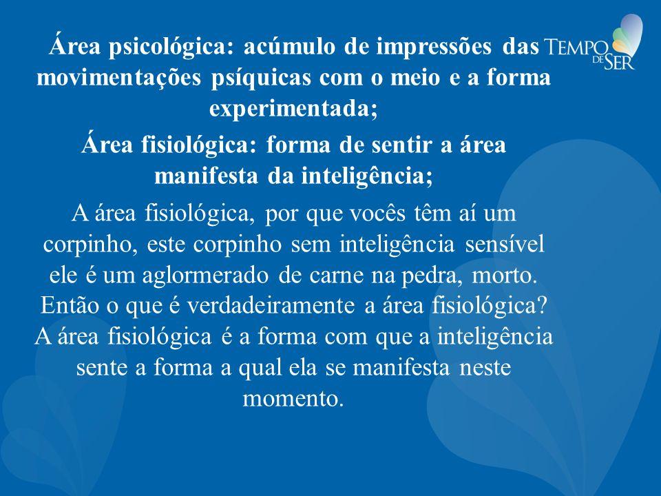 Área fisiológica: forma de sentir a área manifesta da inteligência;