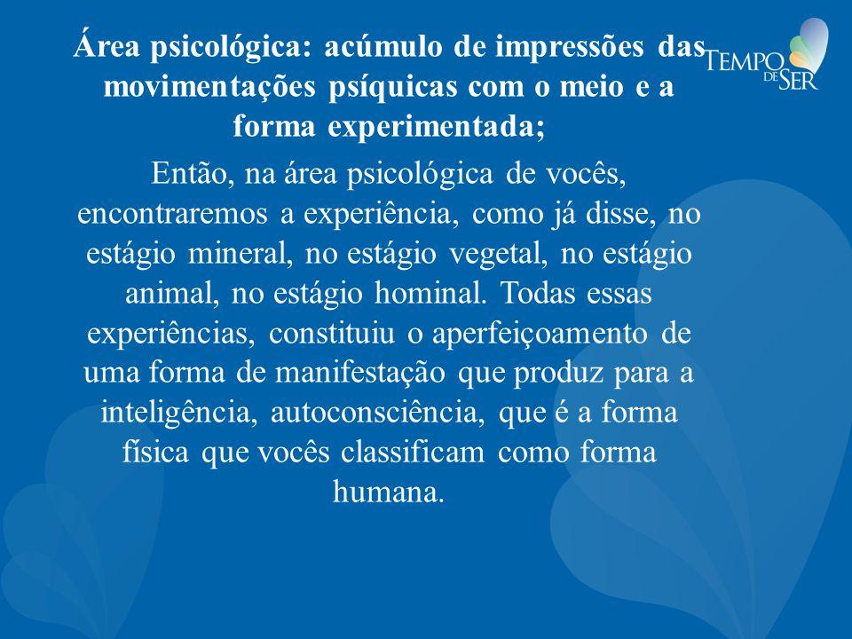 Área psicológica: acúmulo de impressões das movimentações psíquicas com o meio e a forma experimentada;