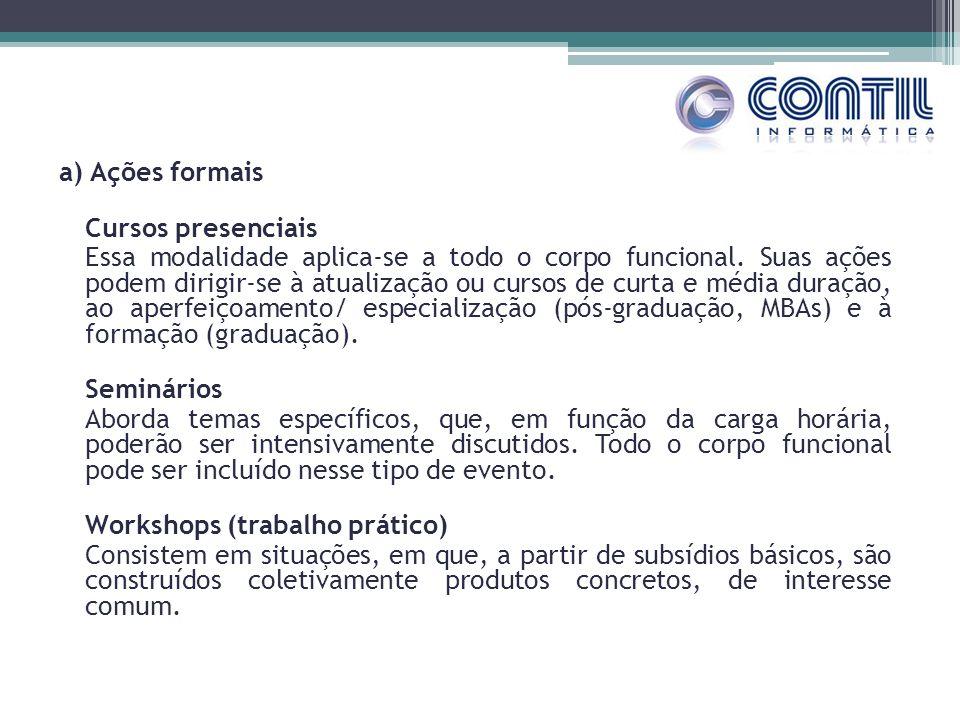 a) Ações formais Cursos presenciais Essa modalidade aplica-se a todo o corpo funcional.