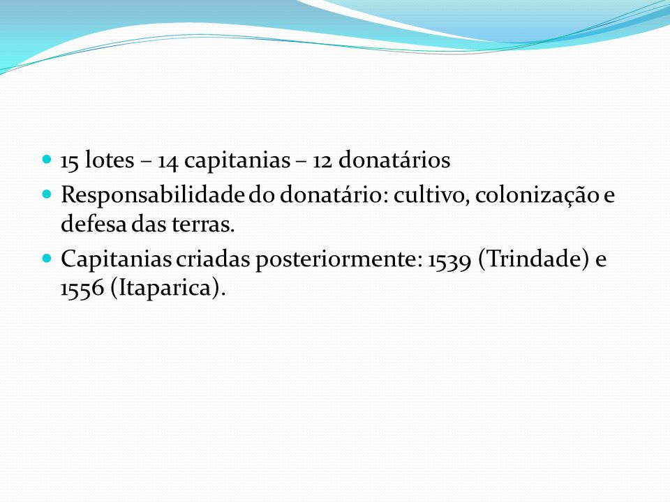 15 lotes – 14 capitanias – 12 donatários