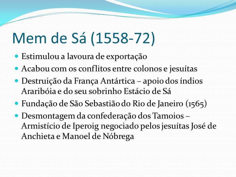 Mem de Sá (1558-72) Estimulou a lavoura de exportação
