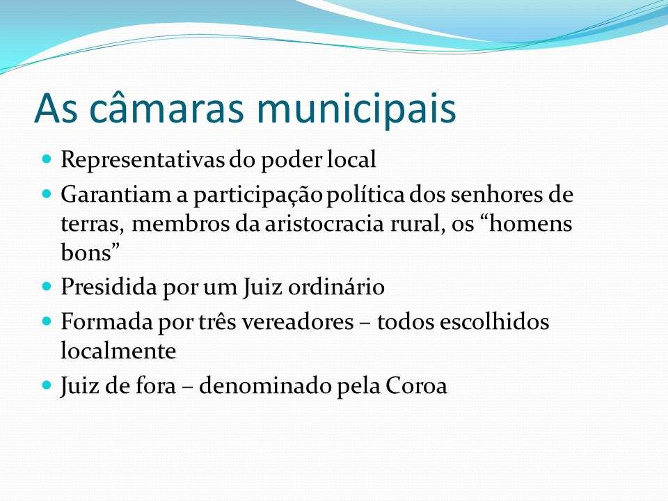 As câmaras municipais Representativas do poder local