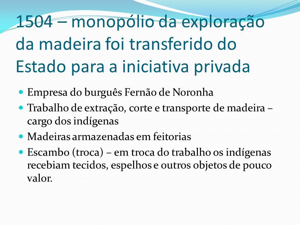 1504 – monopólio da exploração da madeira foi transferido do Estado para a iniciativa privada