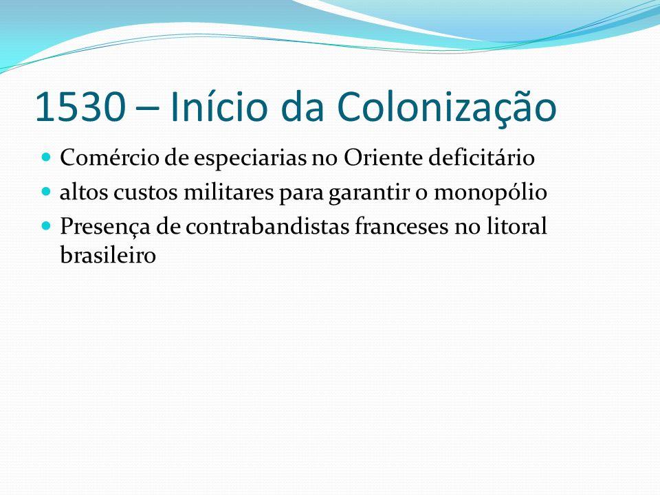 1530 – Início da Colonização