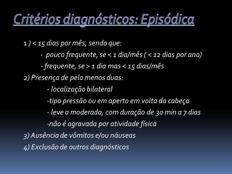 Critérios diagnósticos: Episódica