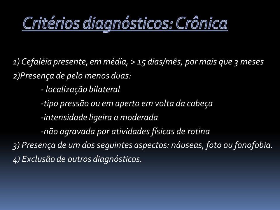 Critérios diagnósticos: Crônica