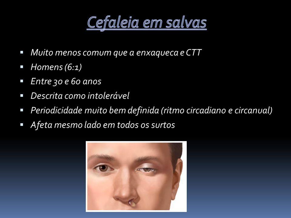 Cefaleia em salvas Muito menos comum que a enxaqueca e CTT