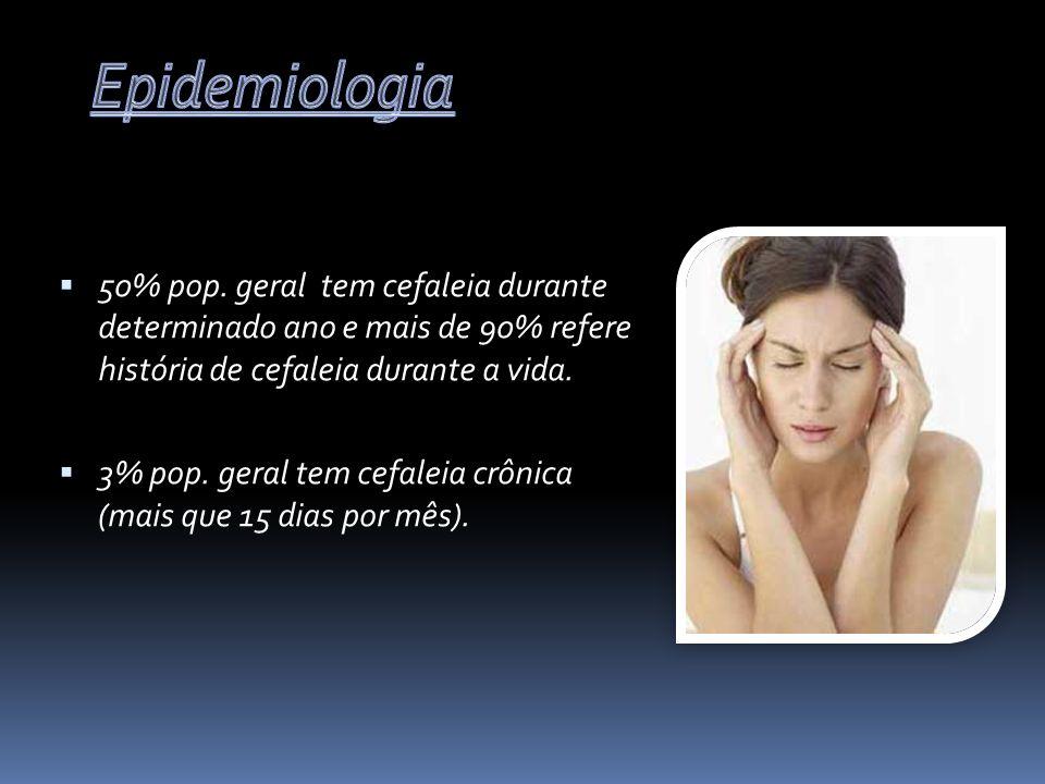 Epidemiologia 50% pop. geral tem cefaleia durante determinado ano e mais de 90% refere história de cefaleia durante a vida.