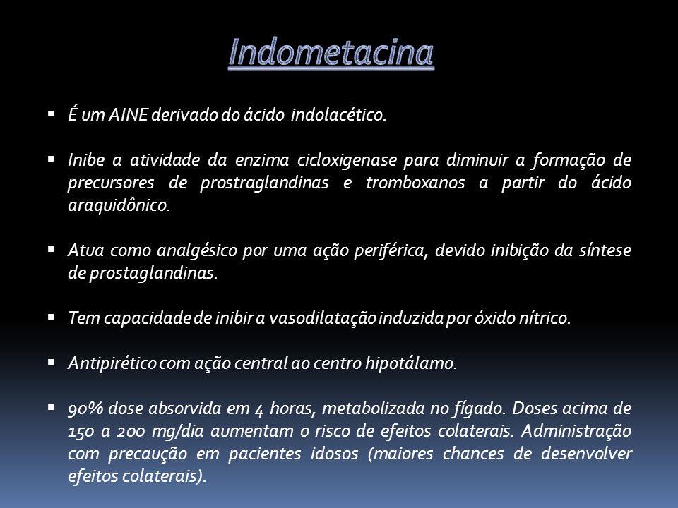 Indometacina É um AINE derivado do ácido indolacético.