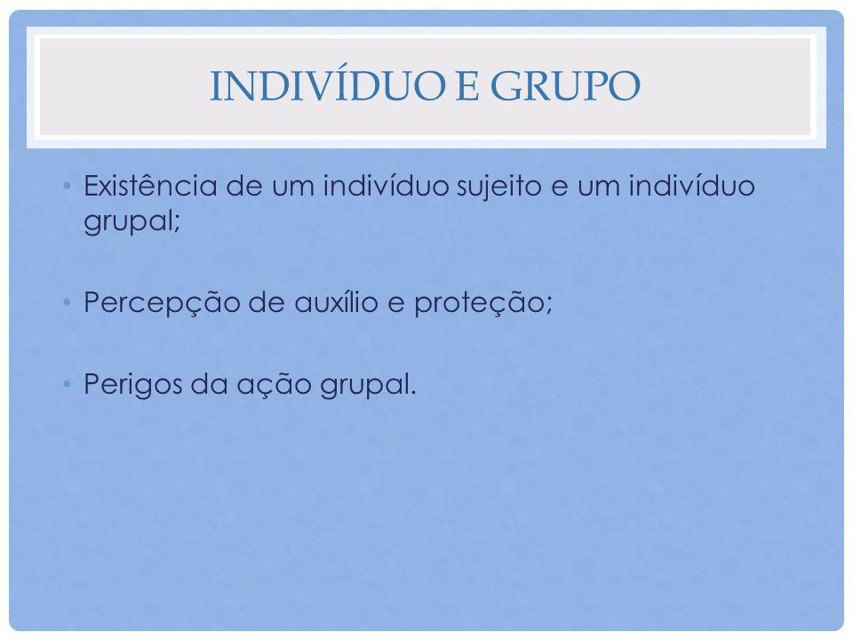 Indivíduo e grupo Existência de um indivíduo sujeito e um indivíduo grupal; Percepção de auxílio e proteção;