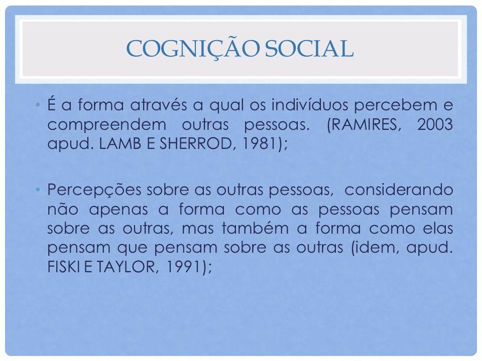 Cognição social É a forma através a qual os indivíduos percebem e compreendem outras pessoas. (RAMIRES, 2003 apud. Lamb e Sherrod, 1981);
