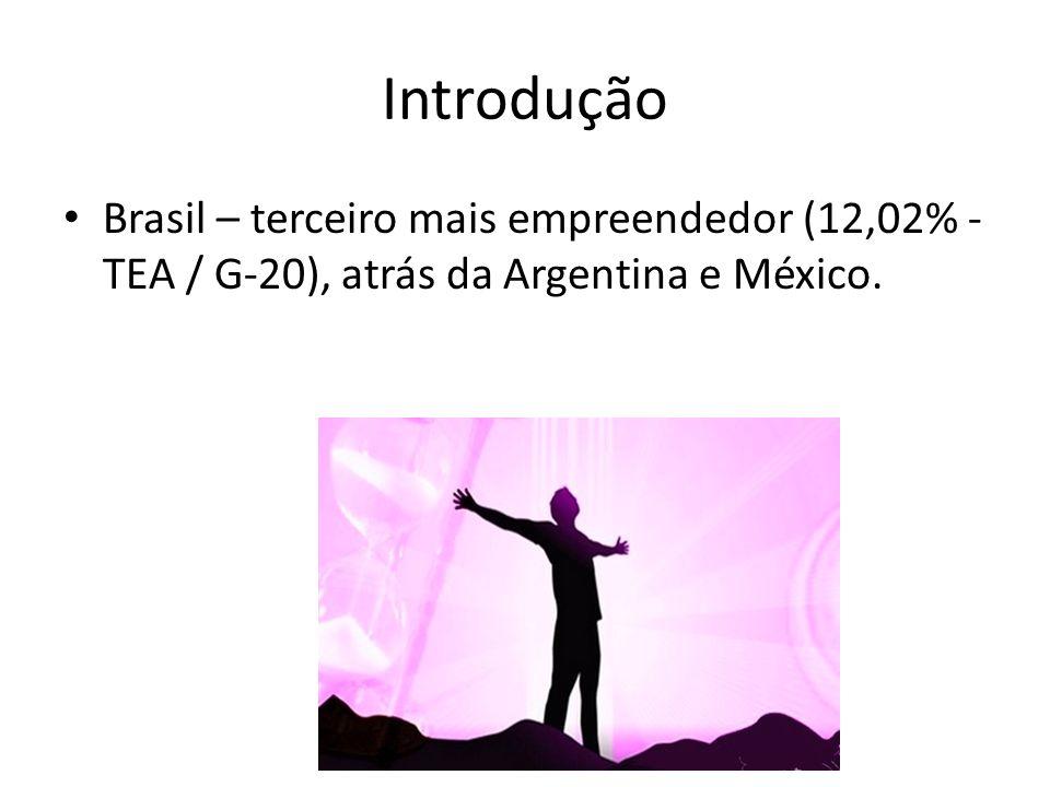 Introdução Brasil – terceiro mais empreendedor (12,02% - TEA / G-20), atrás da Argentina e México.