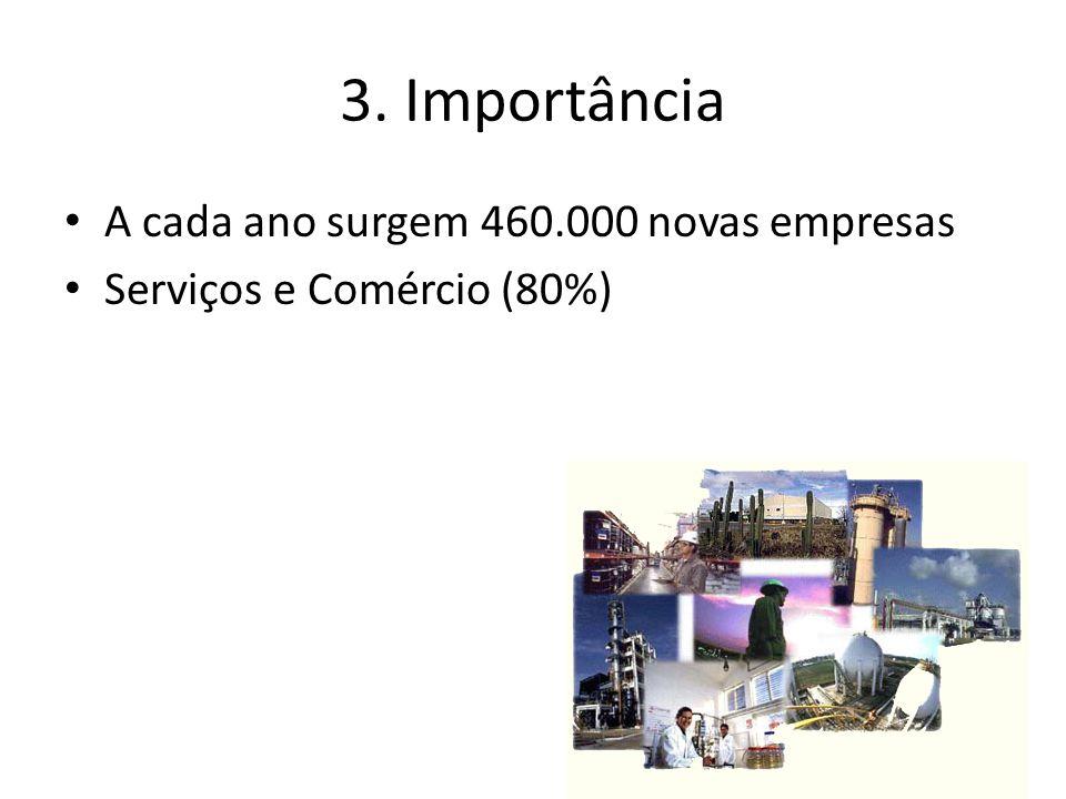 3. Importância A cada ano surgem 460.000 novas empresas