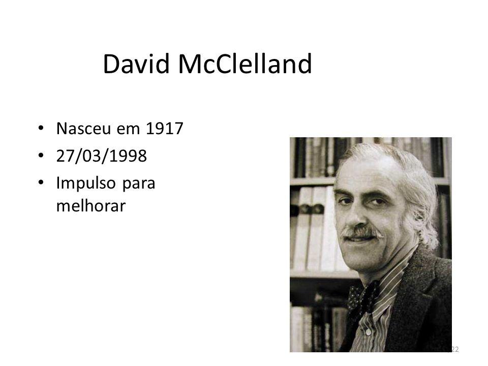 David McClelland Nasceu em 1917 27/03/1998 Impulso para melhorar