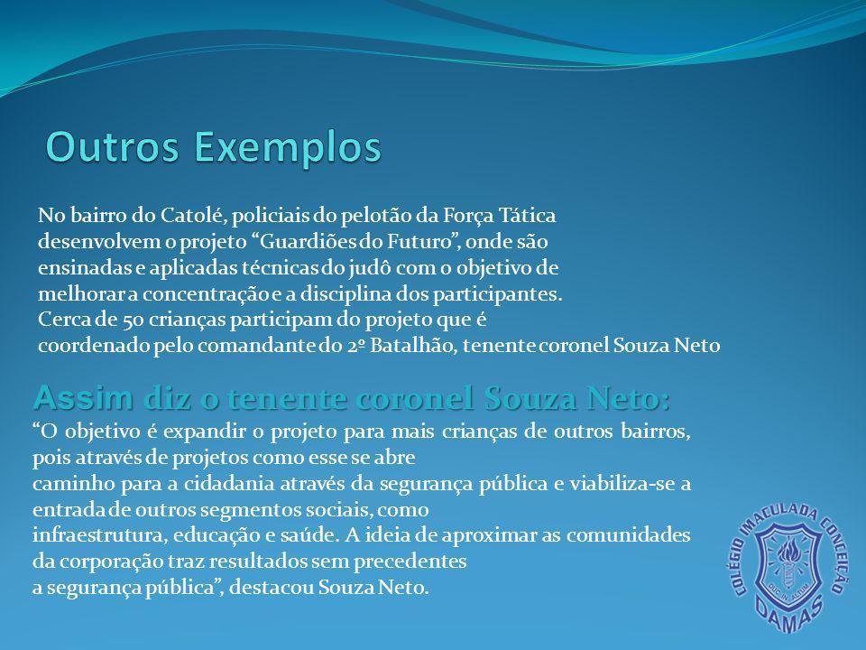 Outros Exemplos Assim diz o tenente coronel Souza Neto: