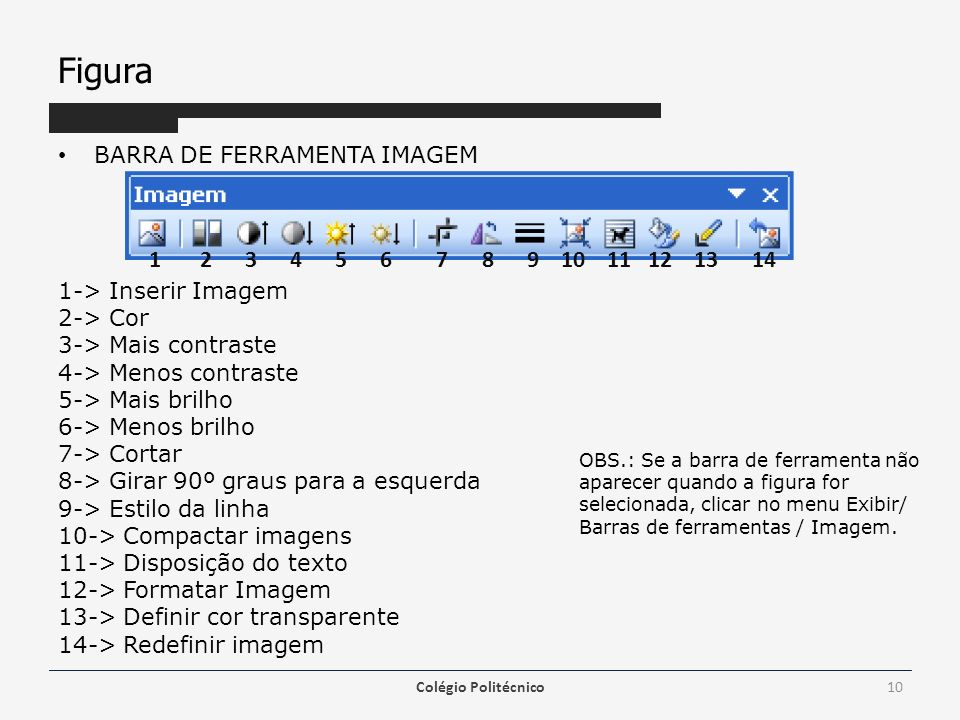 Figura 1 2 3 4 5 6 7 8 9 10 11 12 13 14 BARRA DE FERRAMENTA IMAGEM