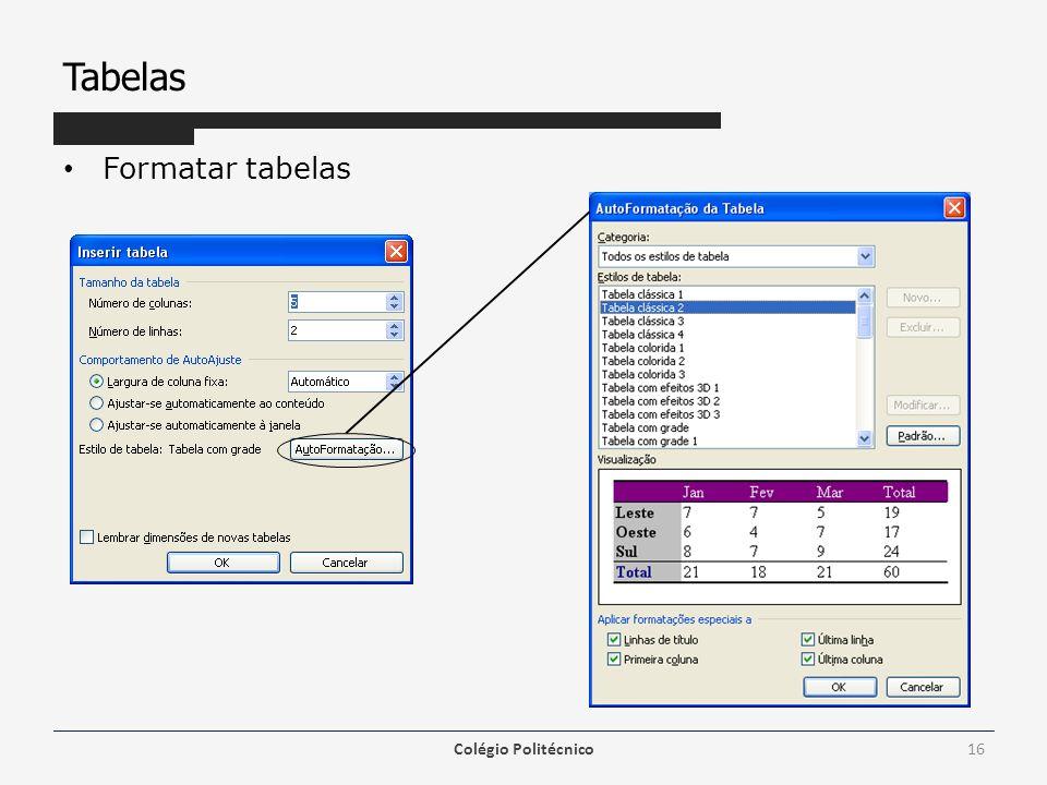Tabelas Formatar tabelas Colégio Politécnico