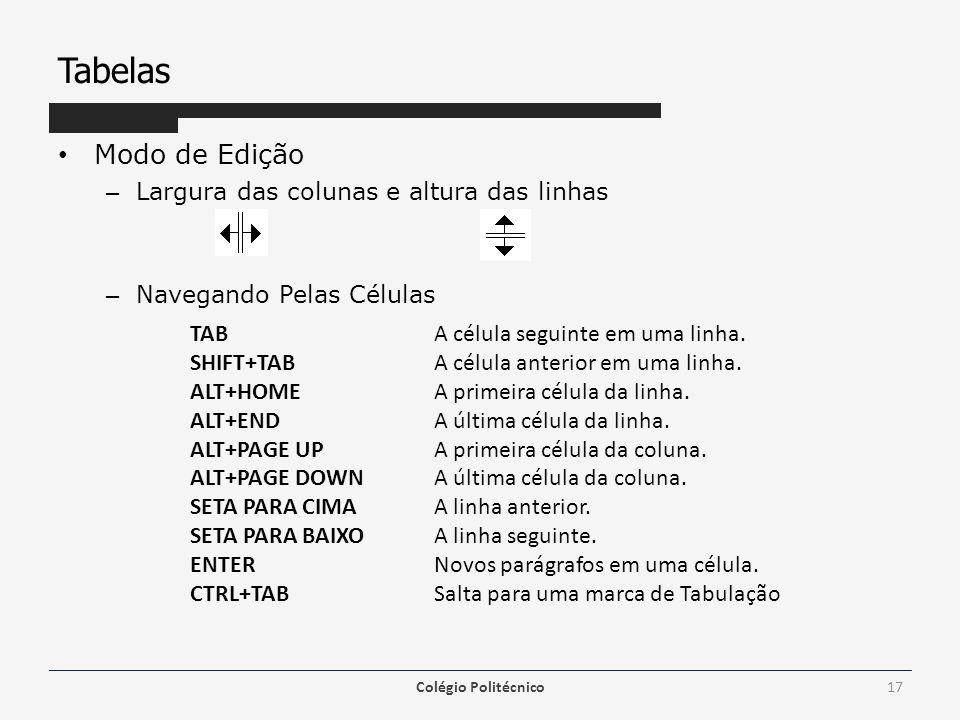 Tabelas Modo de Edição Largura das colunas e altura das linhas