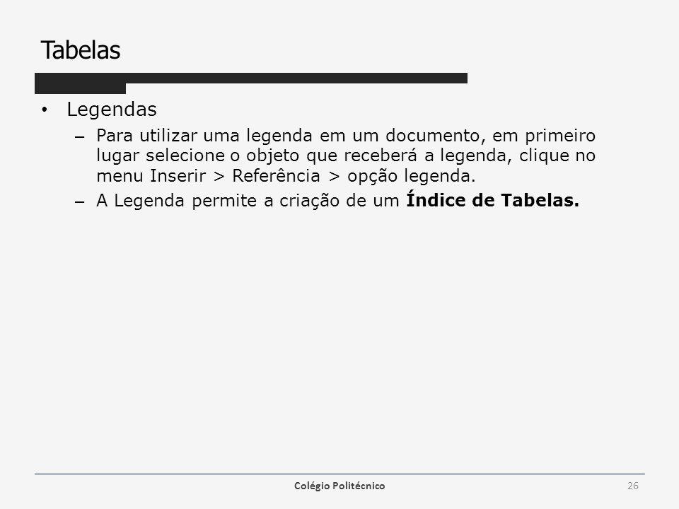 Tabelas Legendas.